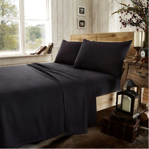 (King Fitted Sheet, Black) Easy Care Ultra Soft Plain Dyed Flannel Fitted Sheet
