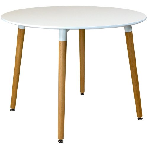Charles Jacobs 100cm diameter Circular Dining Table With White Tabletop Solid Beech Wood Legs