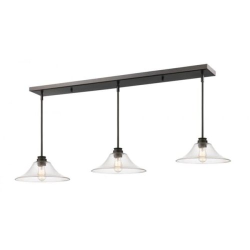 Zlite 428MP14-3OB Annora 3 Light Island & Billiard Light in Olde Bronze with Clear Shade