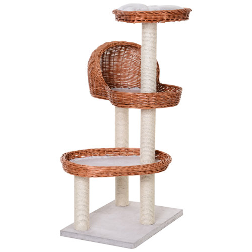 PawHut 110cm Cat Tree Activity Center Platforms Scratching Rope Kitty Condo