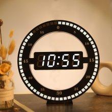 LED Digital Wall Clock Modern Design Dual-Use Dimming Digital Circular Photoreceptive Clocks For Home Decoration
