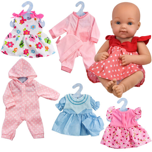 """The Magic Toy Shop Set of 6 Outfits 12-16"""" New Born Baby Doll Clothes Red/Blue/Pink Dress, Bodysuit"""
