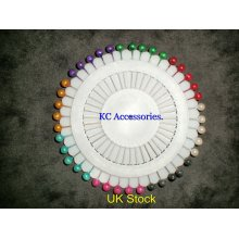 PINS x 40 Multi Assorted Colours Round Head Plastic Pearl Pins Dressmaking Pins