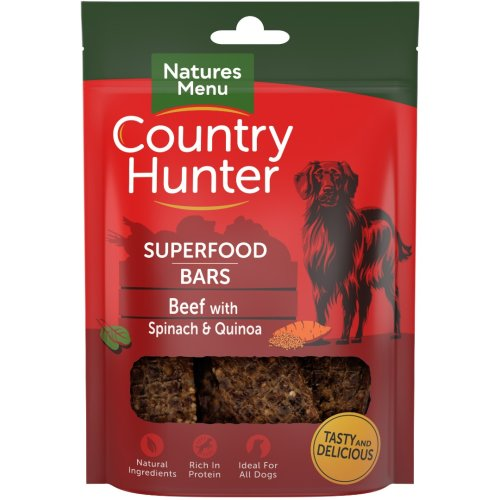 (7X100g, Beef with Spinach) Natures Menu Country Hunter Superfood Bars