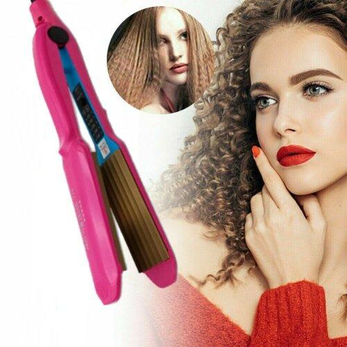 UK Ceramic Titanium Hair Crimper Crimping Perm Splint Waver Curler Wet/Dry Salon