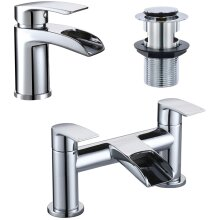 [Basin Tap and Bath Tap] Hapilife Bathroom Sink Mixer Monobloc Faucet Waterfall and Tub Filler Tap Chrome with Pop Up Waste