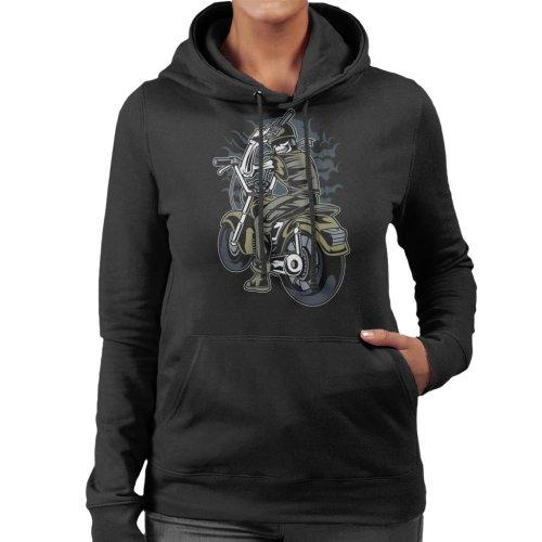 Skull Motorcycle Rider Women's Hooded Sweatshirt