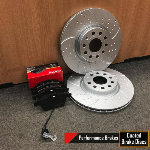 FOR VW CADDY FRONT DIMPLED GROOVED KINETIX BRAKE DISCS MINTEX PADS 312mm COATED