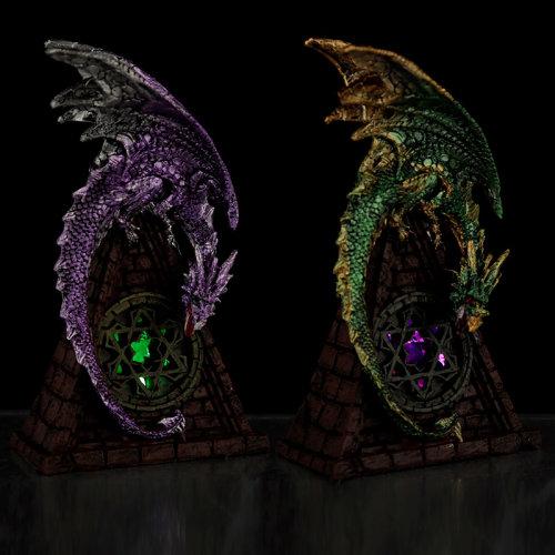 Stained Glass Window LED Dark Legends Dragon Figurine