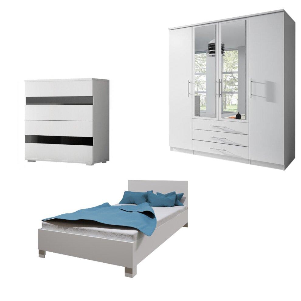 White Bedroom Set Santi4d Led 200cm Wardrobe 140cm Bed Chest Of Drawers Hanging Rail Shelves On Onbuy