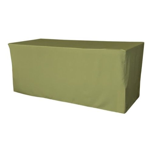 TCpop-fit-72x30x30-SageDrkP39 2.23 lbs Polyester Poplin Fitted Tablecloth, Dark Sage