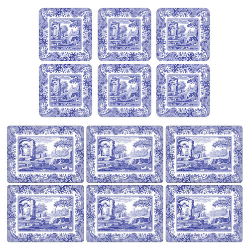 Pimpernel Blue Italian Placemats and Coasters Set of 6