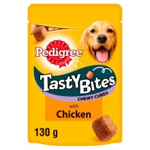 Pedigree Tasty Bites Dog Treats Chewy Cubes With Chicken 8x130g