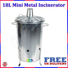 18L Small Garden Galvanised Metal Incinerator Fire Burning Bin For Wood Paper Leaves Twigs Branches