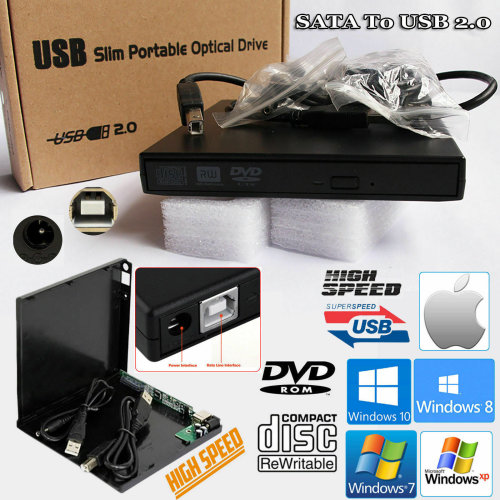 Laptop USB To SATA CD DVD Combo RW Rom Drive External Case Cover Caddy