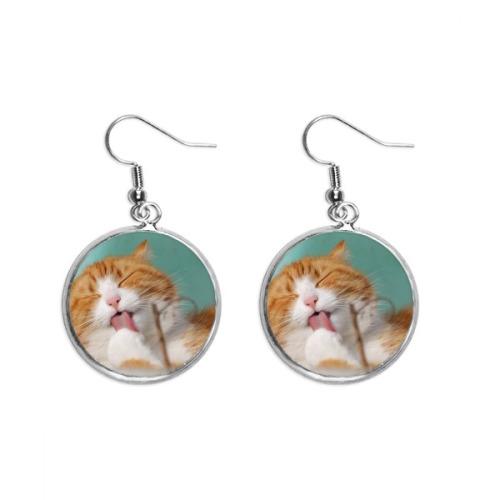 Yellow Stripes Cat Pet Animal Lick Ear Dangle Silver Drop Earring Jewelry Woman