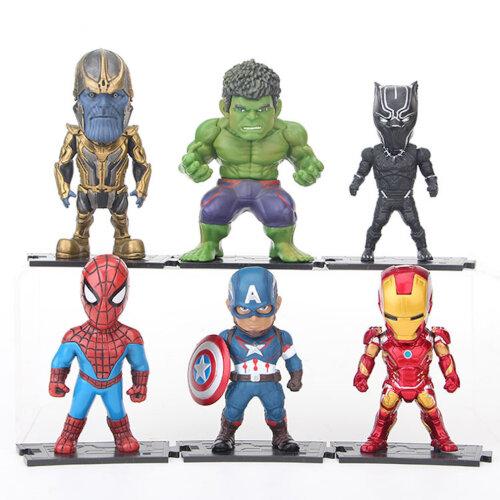 6pcs Avengers Figure Toy Iron Man Spider-Man Hulk Captain America