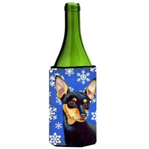 Min Pin Winter Snowflakes Holiday Wine bottle sleeve Hugger - 24 oz.