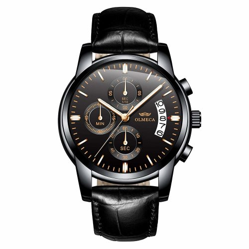 OLMECA Men's Watches Sports Wristwatches Waterproof Fashion Dress Quartz Watches Chronograph Date Genuine Leather Watch for Men Black Color 826-QHMDpd