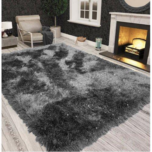 (Black Grey) Non Slip Shaggy Sparkle Living Room Carpet Rugs