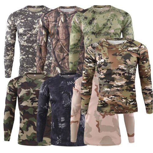 Men,s Spring Autumn Outdoor Camouflage Long Sleeve T-Shirt, Men Outdoor Quick Dry Tight Base Layer Sport Hunting Running T-Shirt