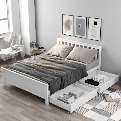 (Double) Wooden Solid White Pine Bed Frame Furniture with Drawers Storage for Adults, Kids, Teenager