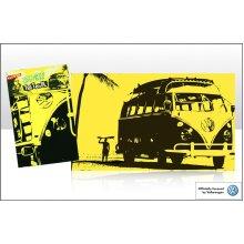 VW campervan tea towel silhouette design