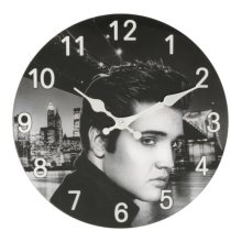 Hometime Glass Wall Clock 30cm Elvis Design