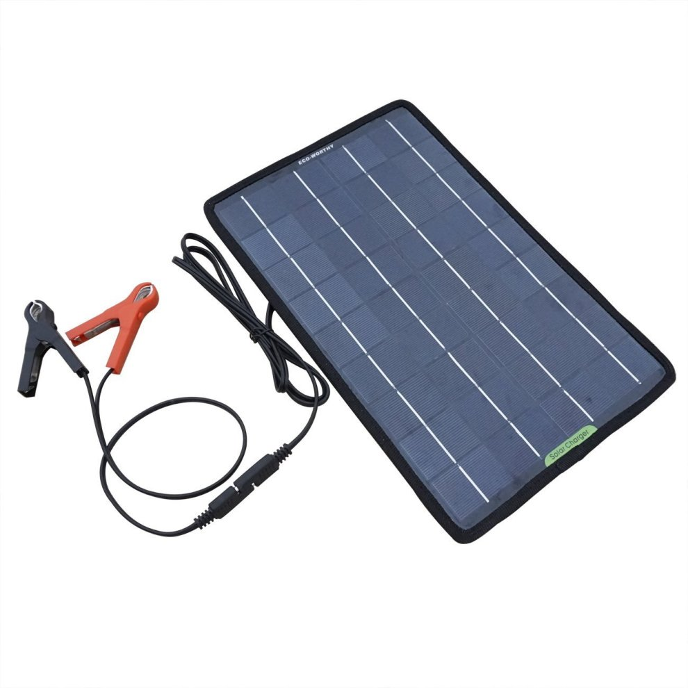 ECO WORTHY 12 Volts 10 Watts Portable Power Solar Panel Battery Charger Backup for Car Boat with Alligator Clip Adapter, Black, 10W