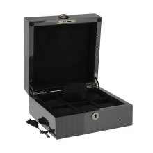 PREMIUM QUALITY CARBON FIBRE WATCH BOX FOR 6 WATCHES SOLID LID BY AEVITAS
