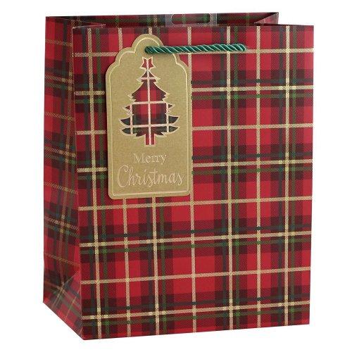 Red Tartan Gift Bag Size Medium
