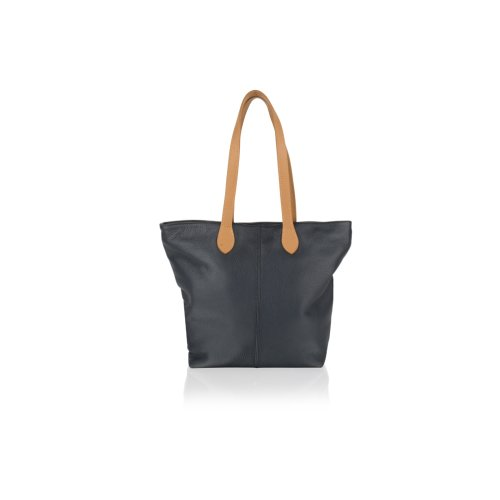 """Woodland Leather NavyTote Shopping Bag 14.5"""" Central Zip Carry Handle"""