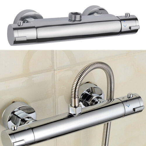 """Round Modern Chrome Thermostatic Bar Mixer Shower Round 1/2"""" Outlet"""