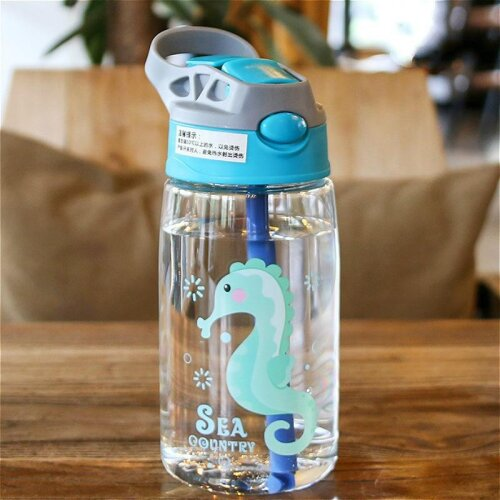 (Hippocampus) Water Bottle With Cups And Straws