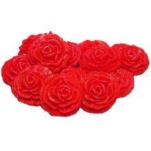 12 Glittered Coloured Roses Wedding Birthday Cupcake Toppers
