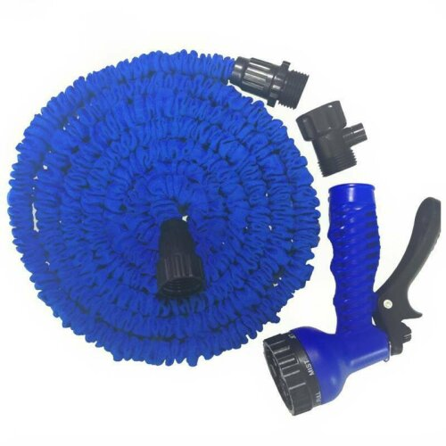 (Blue, 150FT) 150FT Heavy Duty Expandable Garden & Carwash Magic Hose Pipe Spray Gun