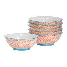 "6x Ramen Noodle Soup Bowl Set Hand Printed Japanese Crockery 20cm 8"" Orange"