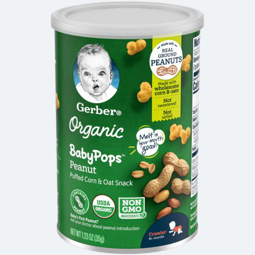 Gerber, Organic Baby Pops, Crawler, 8+ Months, Peanut, 35g