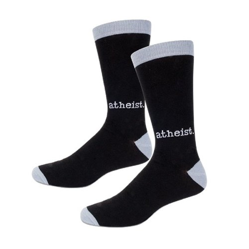 Socks - Archie McPhee - Atheist Black and Gray Men's New 12805