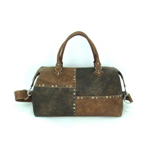 Savana No.PA-160 TN Ladies Faux Leather Patchwork Duffle Bag, Tan