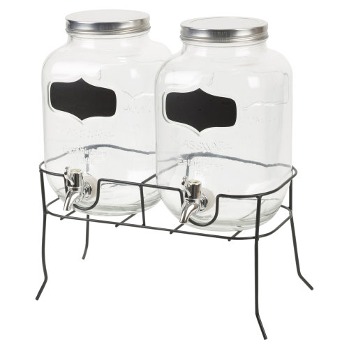 4L Twin Glass Drink Dispenser   Double Glass Drink Dispenser With Stand