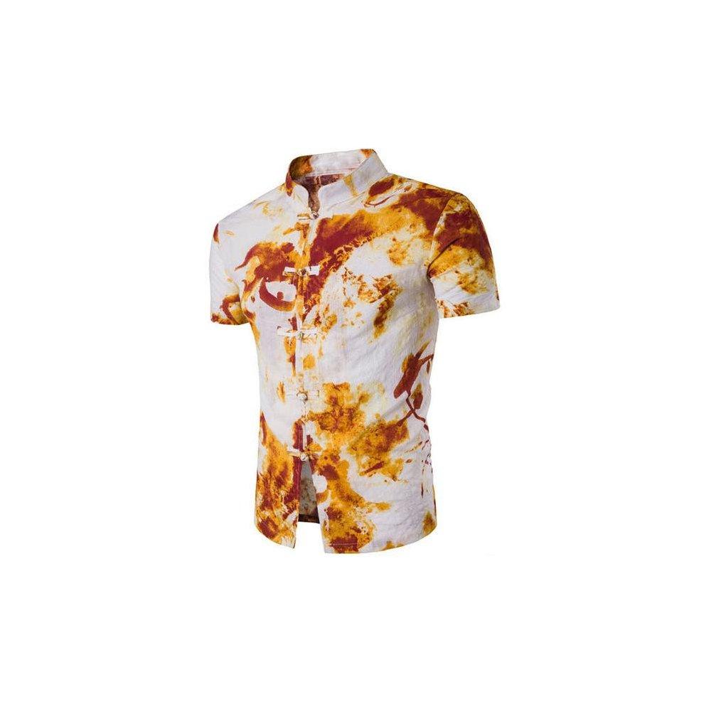 2017 Summer New Fashion Flower Printed Short Sleeve Shirts Men Camisa Male Slim Flower Shirts Vintage Casual Men Shirt On Onbuy