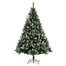 Spray White Christmas Tree Green Artificial With Metal Stand Xmas Decora 5/6/7FT