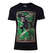 NINTENDO Legend of Zelda Propaganda Link Triforce Poster T-Shirt, Male, Extra Extra Large, Black (TS466528ZEL-2XL)
