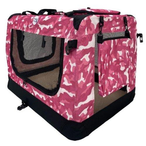 (Pink Camo, Small) HugglePets Fabric Dog Crate, Mat & Treat Food Bag