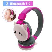 Cute Kids Girl Cartoon Blueooth Headphones 3D Cat Rabbit Pink