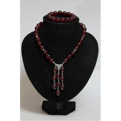 74 g. Natural Baltic amber set necklace bracelet red vintage - Used