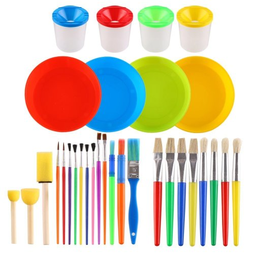 VEYLIN Colorful Paintbrush & Sponge Paint Pots for Kids 31 Pieces Assorted shapes & Sizes