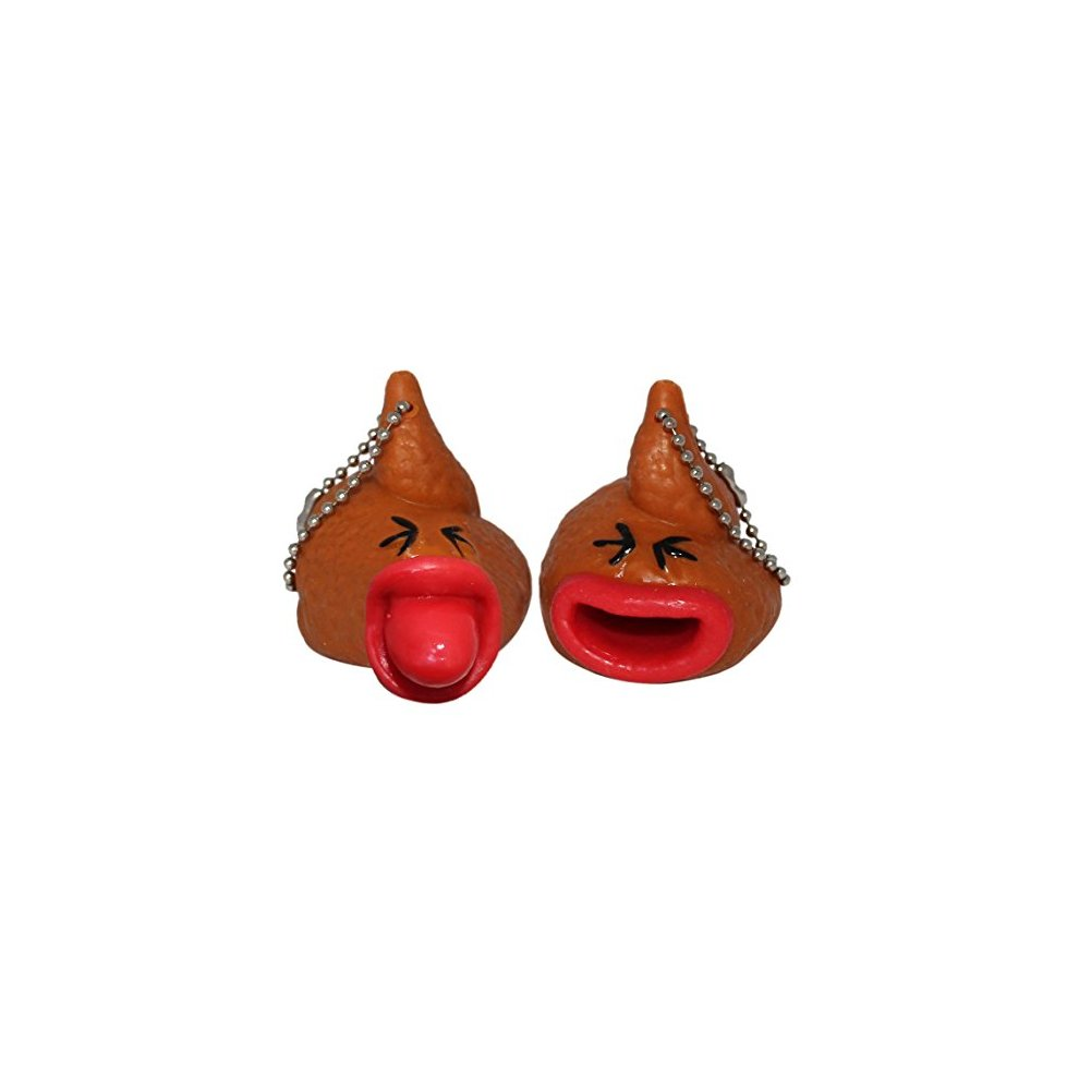 2 pcs Novelty Gag Poo Poo Farting Rubber Figurine Lucore Home Lucore 2 Poop Toy Keychains w// Pop Out Tongues