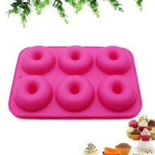6 Doughnut Cavity Dessert Mould Non Stick Silicone Donut Tray